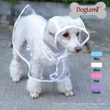 Effacer Grand chien Pet Raincoat Vêtements Puppy Glisten Bar Hoody Imperméable Vestes de pluie