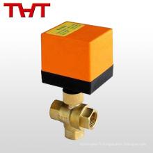 Robinet à boisseau sphérique à commande électrique 3 voies AC12V