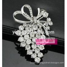 large crystal bow brooch pin
