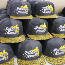 Broderie logo fashion flat brim 5 panneau snapback cap