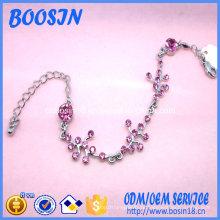 Пользовательские Романтический Кристалл Цветочный браслет цепи формы для девочек