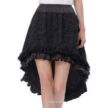 Belle Poque Vintage retro de encaje de satén cintura elástica asimétrica alta-baja falda negra BP000329-1