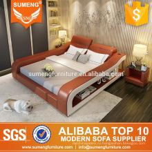 современные французские стили лучшие продажи кожаный спальня набор мебели с тумбочкой