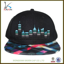 diseño de cierre de plástico de borde plano por encargo promocional de moda al por mayor su propio logo de bordado importar snap back sombreros