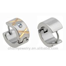 Men's Stainless Steel Cubic Zirconia CZ Hoop Earrings HE-007