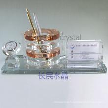 fournitures de bureau, porte-stylo en cristal avec porte-cartes avec horloge