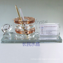office supplies, crystal pen holder with card holder with clock