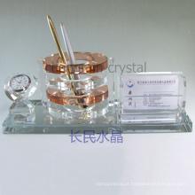 material de escritório, suporte de caneta de cristal com suporte de cartão com relógio
