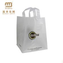 Fábrica de atacado sacos de compras de plástico macio alça de loop saco de plástico biodegradável impressão