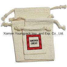Bolso personalizado de la bolsa de la lona del algodón del pequeño cordón de la promoción