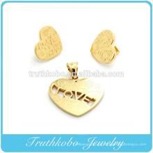 Vácuo de aço inoxidável chapeamento de moda jóias novos padrões de produtos flor e carta de amor em forma de coração de jóias por atacado