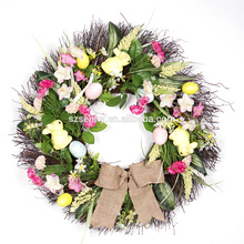 2016 wholesale easter basket decoration artifical flower easter wreath