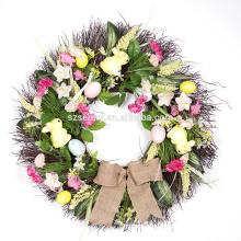 2016 оптовая пасхальная корзинка украшение искусственний цветок пасхальный венок