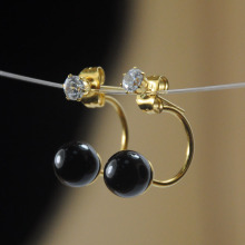 Handmade Artificial Black Pearl Stud Earrings