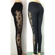 Leggings atractivos calientes del cordón de las mujeres, polainas negras del cordón para las mujeres (LC03)