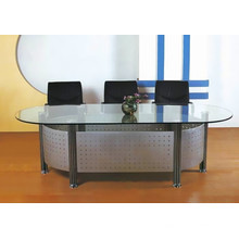 Mode-Design ovalen Glas-Top-Konferenztisch für Tagungsraum