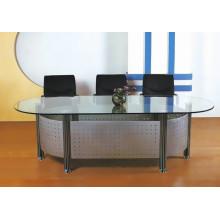 Mesa de conferencia oval de la tapa del vidrio del diseño de la manera para la sala de reunión