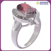 Red Diamond Jewelry Promise Ring Stainless Steel