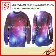 Frauen-Rundhals-Pullover-Galaxie-Druck