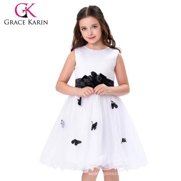 Grace Karin Princess White Children Girl Dress Sleeveless Flower Girl Dress For Wedding 12 Year Girl Without Dress CL007550-1