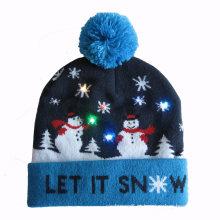 Natal xmas unisex malha piscando glitter chapéu gorro (hw143)