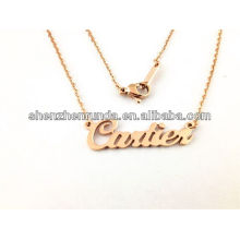 Alibaba supplier cheap wholesale fashion gold necklace with English name for women