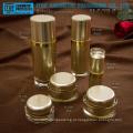Quente-venda popular e clássica alta classe cristalinas camadas dobro oval acrílica garrafa & jar cosméticos embalagens atacado