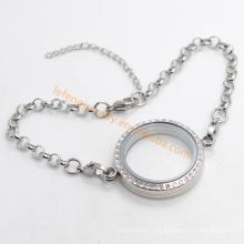 Llano 316L encantos flotantes de acero inoxidable pulseras magnéticas de cristal de los medallones
