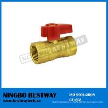Robinet à tournant sphérique de gaz en laiton avec la poignée en aluminium (BW-USB05)