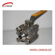 Válvula de bola de la soldadura de tres piezas del acero inoxidable sanitario de la fabricación de China