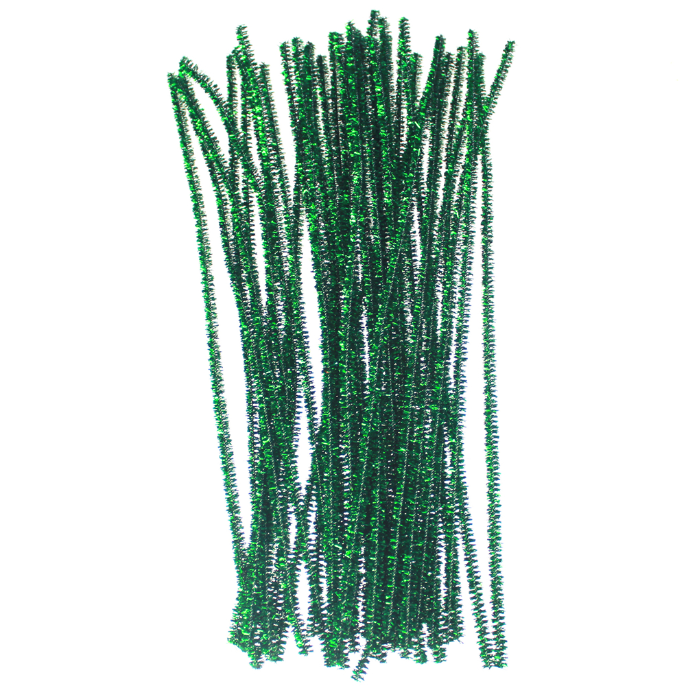 Green PVC glitter chenille stem,chritmas decoration