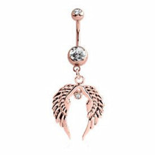 Rose Gold Double Crystal Jeweled Bauch Flügel