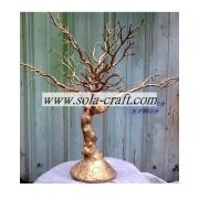 Warna emas 50CM plastik pernikahan meja kristal pohon inti dekorasi