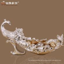 Manufaturer suministro de decoración de la casa de material de resina pavo real figura placa de fruta de alta calidad
