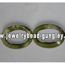 green oval shape freshwater shell beads