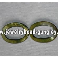 grüne ovale Form Süßwasser Muschelperlen