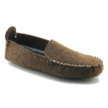 Supplier for Leather Indoor Slippers Mens Wholesale men house brown wool felt slippers export to Malta Exporter