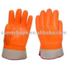Gants fluorescents pvc trempés pour l'utilisateur hivernal