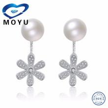 Perle blanche en argent sterling sterling 925 et pendentif Boucles d'oreille fleur fleurie en Corée