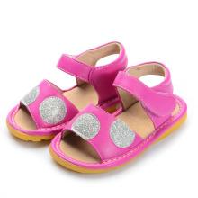 Sandálias de bebê quente rosa com Sliver Big Polka Dots