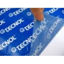 Защитная пленка синего цвета с печатью