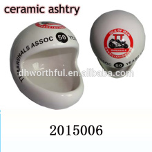2016 new style helmet design ceramic portable ashtray