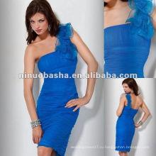 Плечо ruched платье с рюшами по всей и цветочные детали платье для коктейля