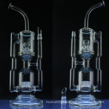 Cross-Crystal Recycler Glass pipe for Smoke with Sprinkler (ES-GB-028)
