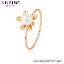 15433 xuping muestra gratis últimos diseños con perla blanca romántica elegante anillo de dedo chapado en oro 18k
