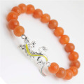 Red Aventurine Gemstone Bracelet with Diamante alloy lizard Piece