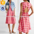 Pink And Bright-pink Cotton-poplin Dress Manufacture Wholesale Fashion Women Apparel (TA4087D)