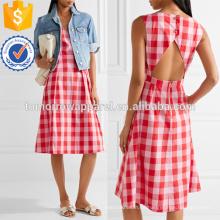 Vestido de popelina de algodón rosa y rosa brillante Fabricación ropa de mujer de moda al por mayor (TA4087D)