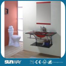 Lavabo de cristal templado del diseño moderno con el espejo
