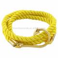 Venta al por mayor de accesorios de los hombres de moda de acero inoxidable gancho de pescado de oro con marinero ancla marina cuerda pulseras joyería